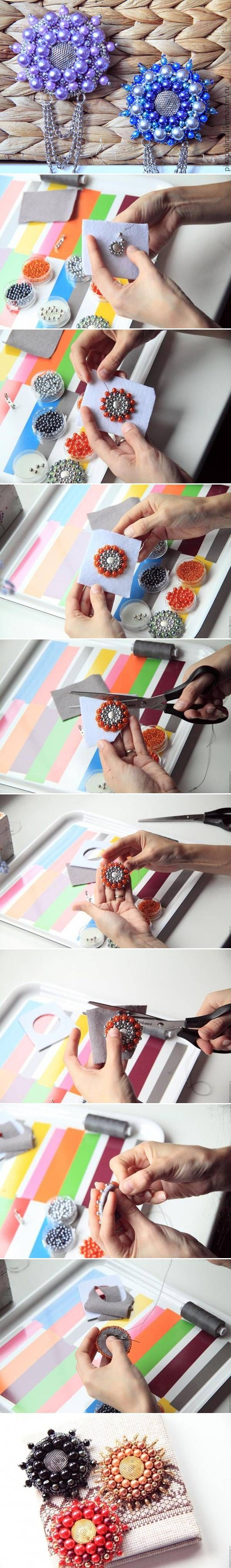 DIY Beads Flower Brooch. These could be flower centers also.
