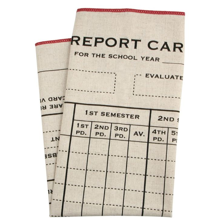 Report Card dishtowel; because, of course, industrial type as design element always floats my boat.
