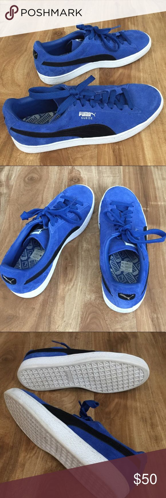 true blue puma black suede classic shoes mens size 10. worn once, has a lot of life left in them. practically brand new Puma Shoes Sneakers