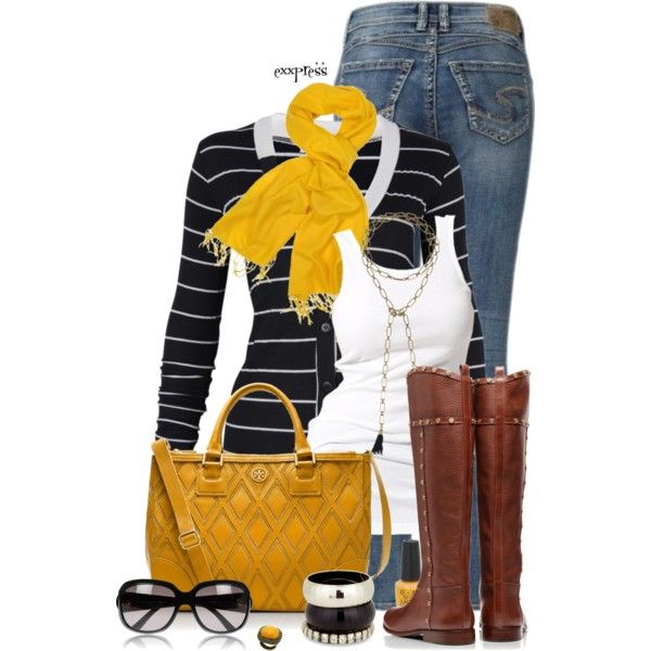 Casual OutfitWoman Outfit, Stripes Cardigans, Casual Outfit, Fall Wardrobes, Design Clothing, Fashionista Trends, Gold Accent, Fall Outfit, Mustard Yellow