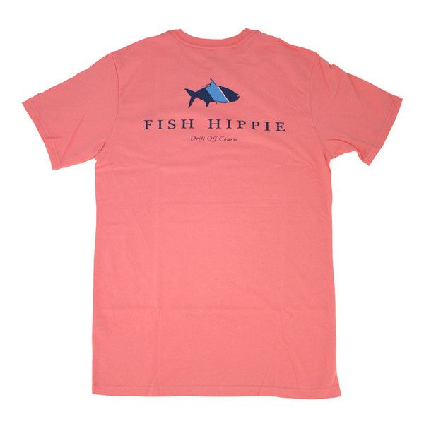 Fish Hippie Original Tarpon Tee, Coral ($32) ❤ liked on Polyvore featuring tops, t-shirts, shirts, tees, coral shirt, t shirts, hippie t shirts, fish t shirts and red top