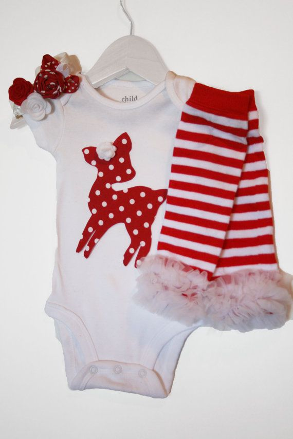 Baby Girl Christmas Outfit - Red with White Polka Dot Reindeer with Red Stripe Leg Warmers and Red and White Roses Hair Bow!
