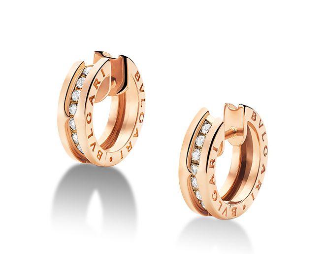 Orecchini a cerchio piccoli B.zero1 in oro rosa 18 carati con pav� di diamanti.