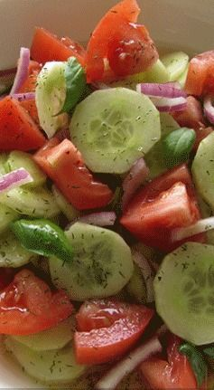 Farmhouse Italian in this is wonderful, little sugar, salad supreme, let it chill its the best Cucumber Tomato Salad