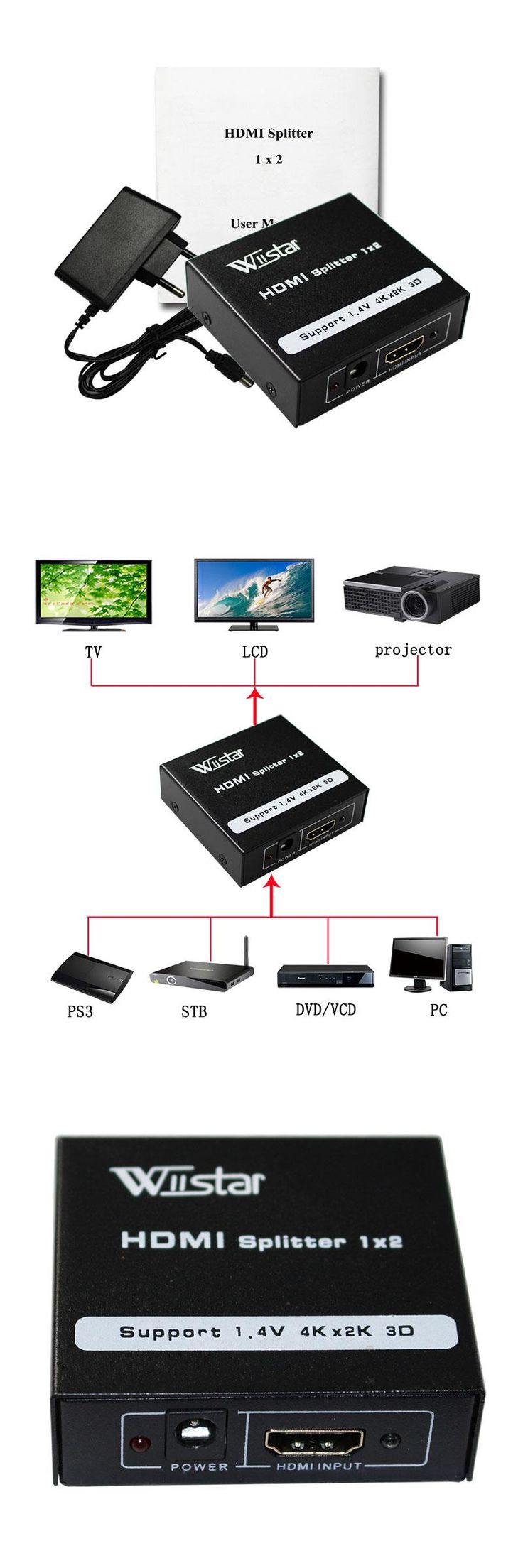 [Visit to Buy] Wiistar 1080P 2 Ports HDMI Splitter 1.4 HDMI Splitter 3D 1 x 2 HDMI Splitter 5V Power Supply 1 In 2 Out Switcher For HDTV #Advertisement
