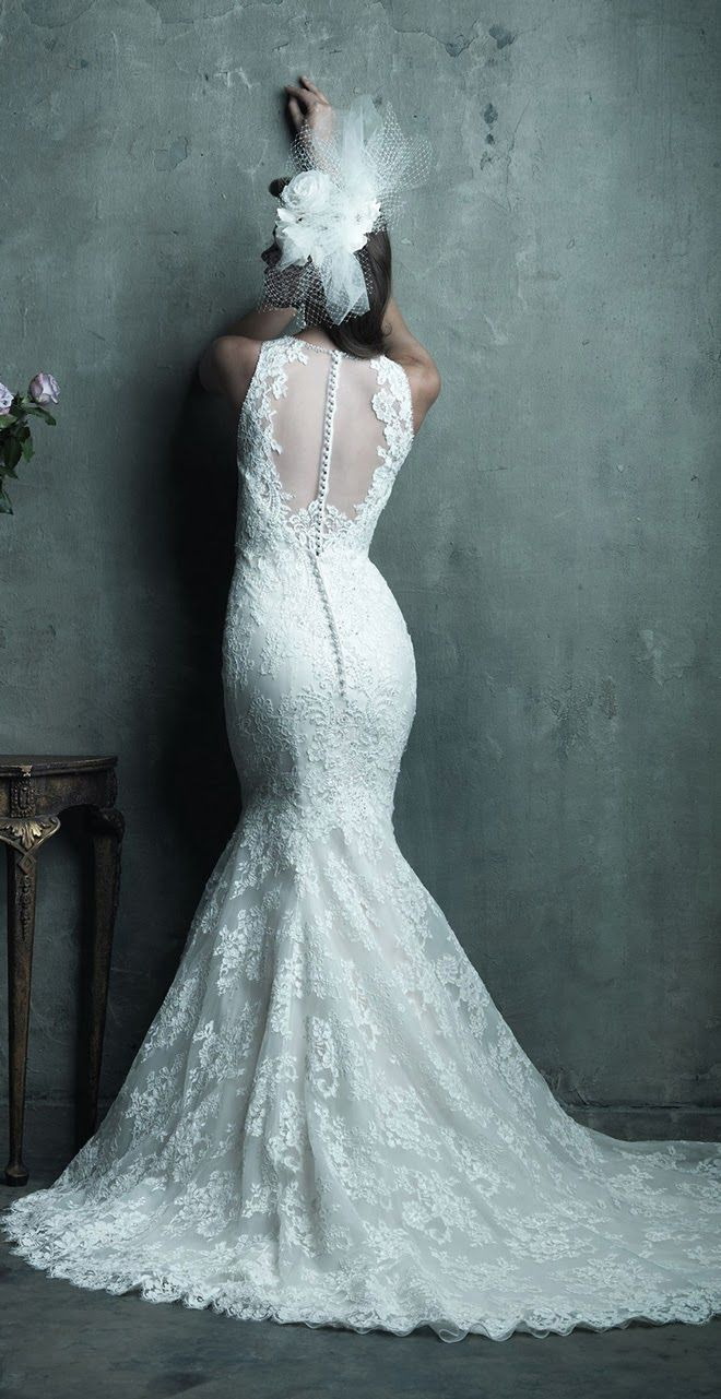 Allure Couture Spring 2014 Bridal Collection - Style C280. This all-over lace mermaid wedding dress adds a touch of drama with a gorgeous sheer illusion back and sophisticated lace illusion neckline.