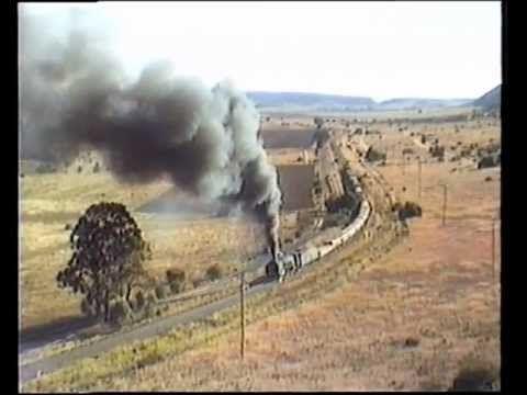 South African Railways Class 25NC on a goods train nears Kloofiend -1985