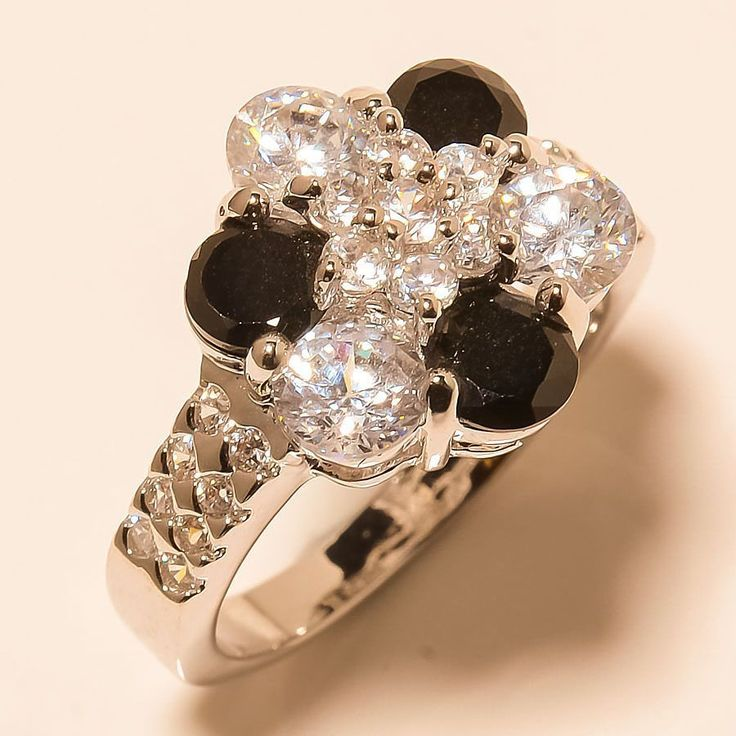 Black Onyx, White Topaz 925 Sterling Silver Jewelry Ring 8 #Handmade #Cocktail