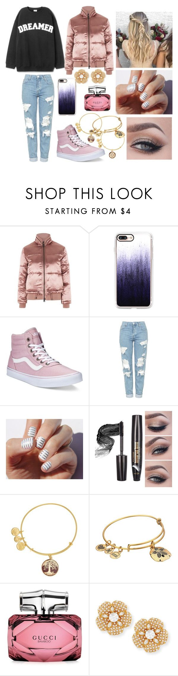 """""""Winter puffer jacket- outfit 3"""" by shayla903 ❤ liked on Polyvore featuring Topshop, Casetify, Vans, SoGloss, Alex and Ani, Gucci and Kate Spade"""