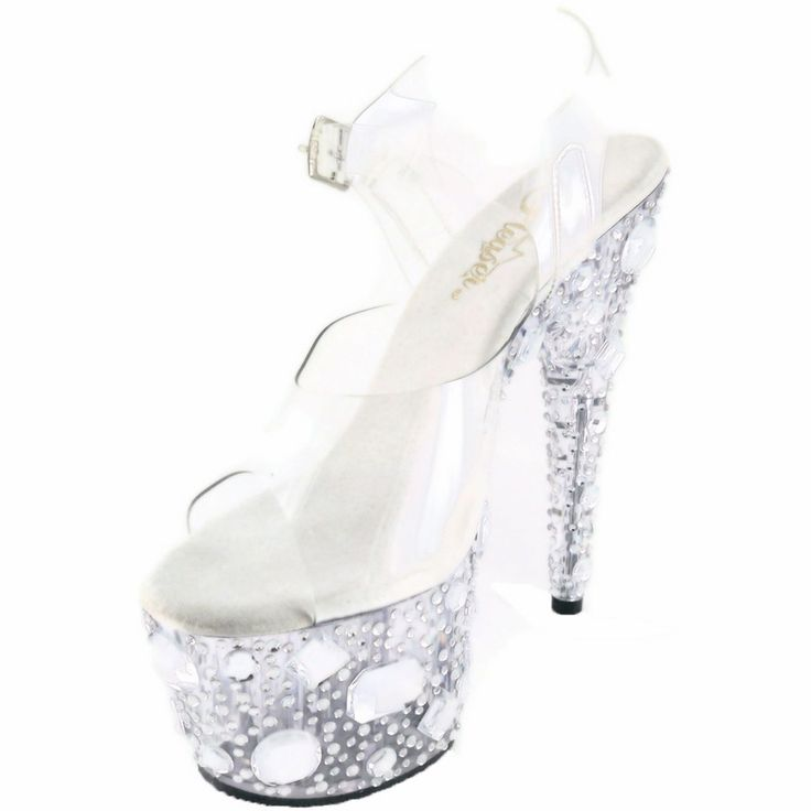 Pleaser Shoes Ankle Strap Sandal Rhinestones Exotic Dance Adore-708Mr Clear