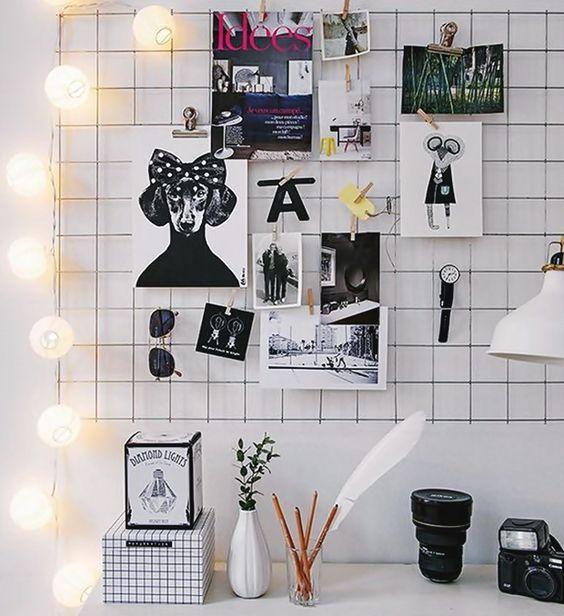 mural-de-inspiracao-wire-wall-grid. como decorar home office. escritório em casa. parece de inspirações. mural de recados.