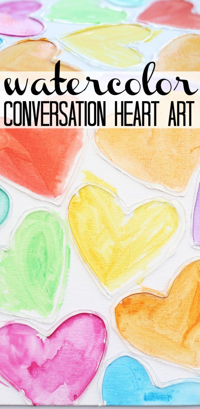 Watercolor Conversation Heart Art:  A Valentines Day art project inspired by the beautiful colors found in a box of conversation hearts.