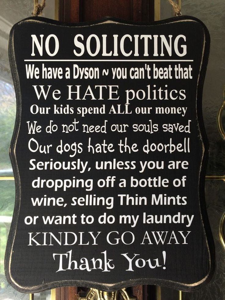 New No Soliciting Sign Front Door Home Wine Laundry