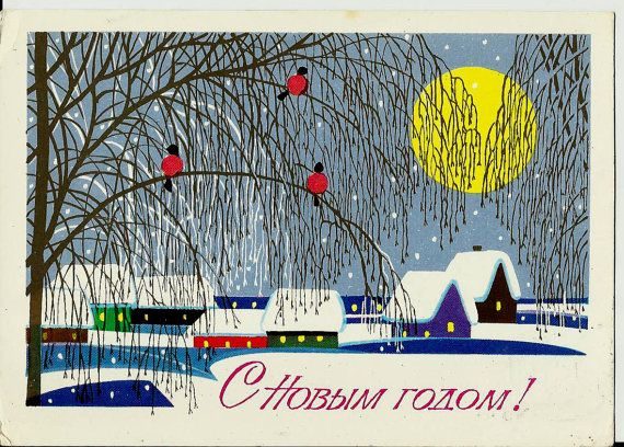 Bullfinches  Winter  Bids  Vintage  Russian Postcard by LucyMarket