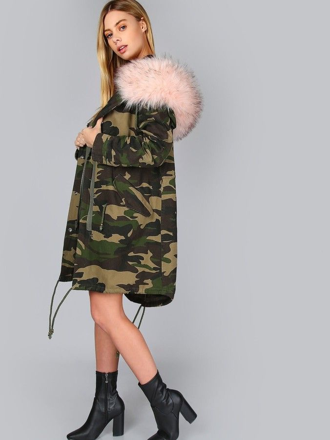Shein Oversized Camo Parka Jacket CAMOUFLAGE