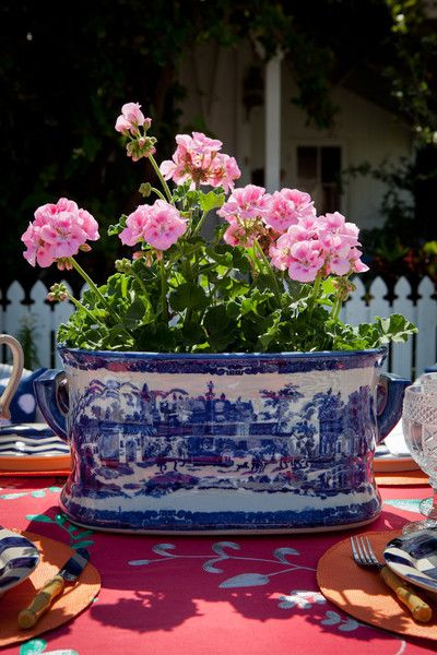 beautiful arrangement of pink geraniums blue and white bowl