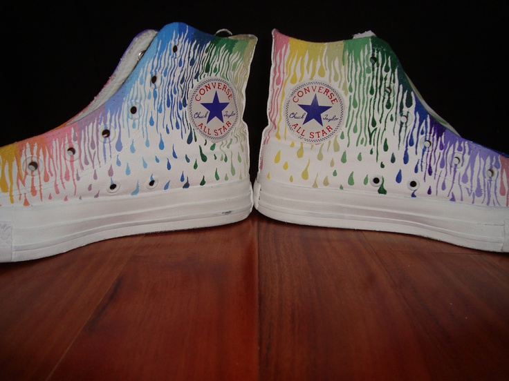 Paint Drip Hand Painted Converse High Tops. $65.00, via Etsy.