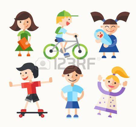 BAMBINO CHE GIOCA CON LE BAMBOLE: Children and their activities - modern vector flat design characters set.