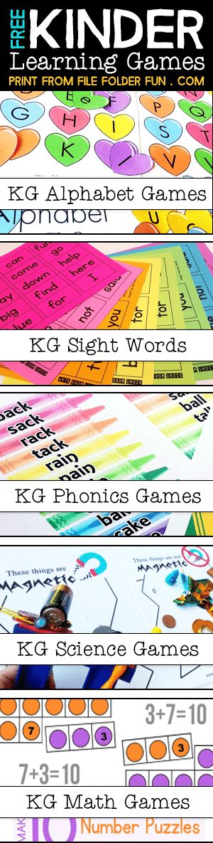 Free Kindergarten File Folder Games: Sight Words, Phonics, Alphabet, Learn to Read, Math, Science and more! Free printable games for kindergarten!