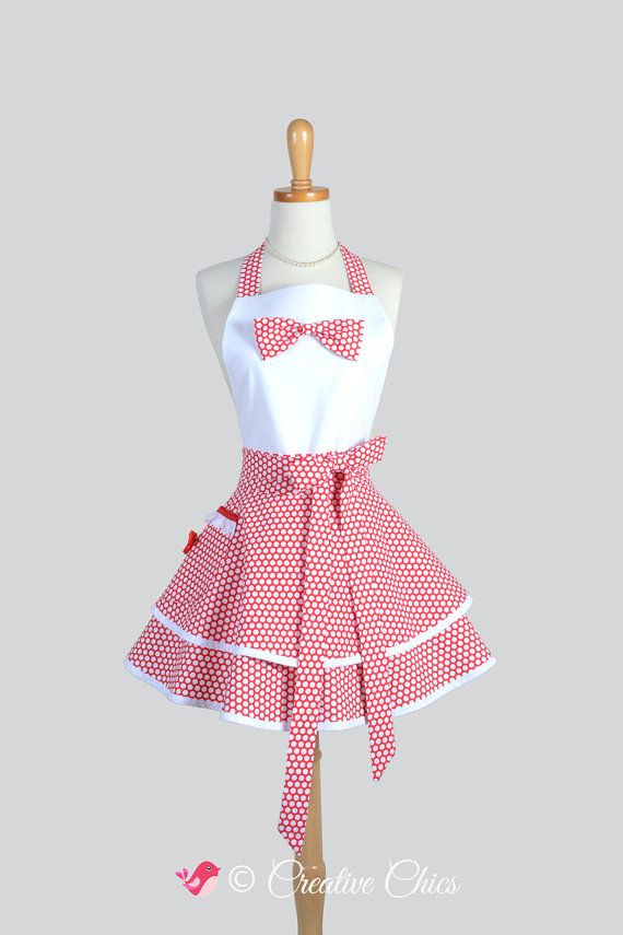 Etsy listing at https://www.etsy.com/listing/209838022/retro-ruffled-bib-apron-christmas-red