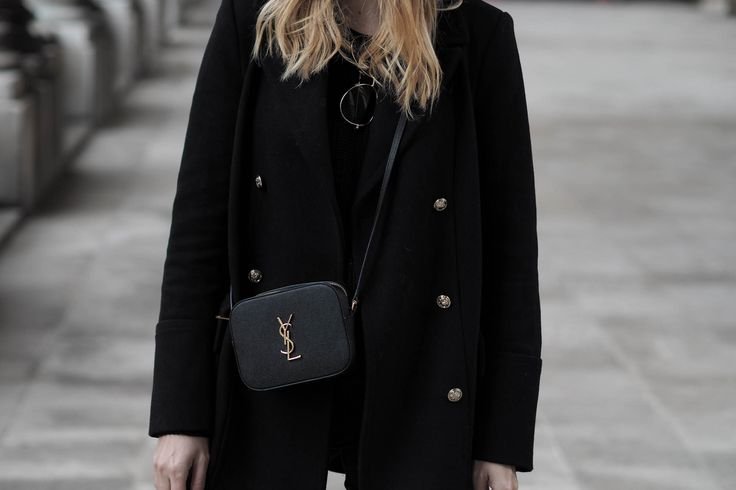 all black outfit - blazer, blouse with tie, ripped skinny jeans ...