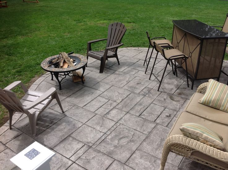 Ashlar Slate Stamped Concrete Patio In Rochester Ny