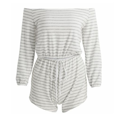 Sexy Women Off Shoulder Jumpsuit Stripes 3/4 Sleeves Slash Neck Pullover Casual Playsuit Rompers Grey