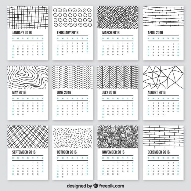 Doodle Style Yearly Calendar - Here are 20 free printable 2016 calendars that you can print out and customize. Dainty calendars, cute calendars, food calendars.. a collection of free printable calendars for you to use.