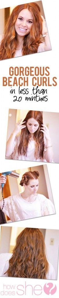 Gorgeous beach curls in under 20 minutes #beachcurls #hair howdoesshe.com