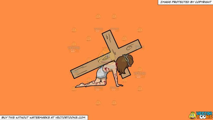Christ Dragging A Cross On A Solid Mango Orange Ff8c42 Background:   A male religious icon with brown hair wearing a tattered white loincloth a brown thorn crown body tainted with blood streaks falls down on the floor while carrying a big wooden cross on his left shoulder