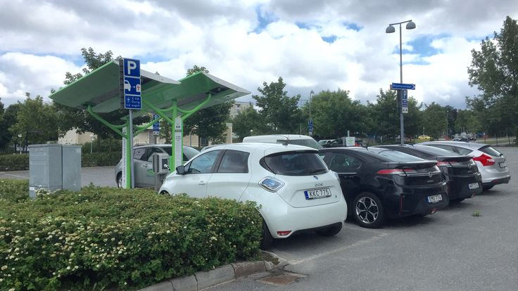 Solar power car charging for 8 cars @Sundbyberg, Sweden