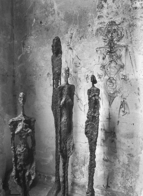 Alberto Giacometti dans son atelier; by Robert Doisneau, 1957.