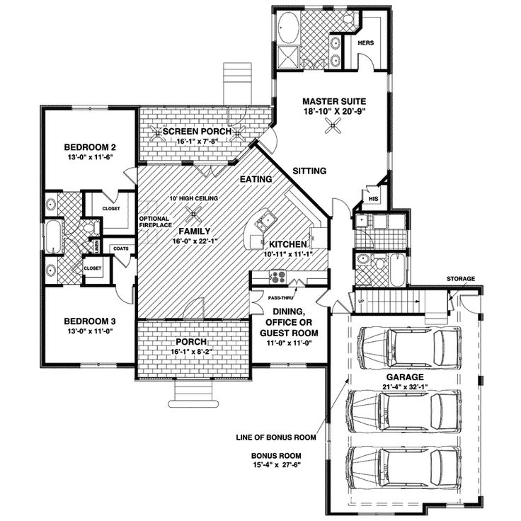 1000 ideas about traditional house plans on pinterest for Traditional open floor plans