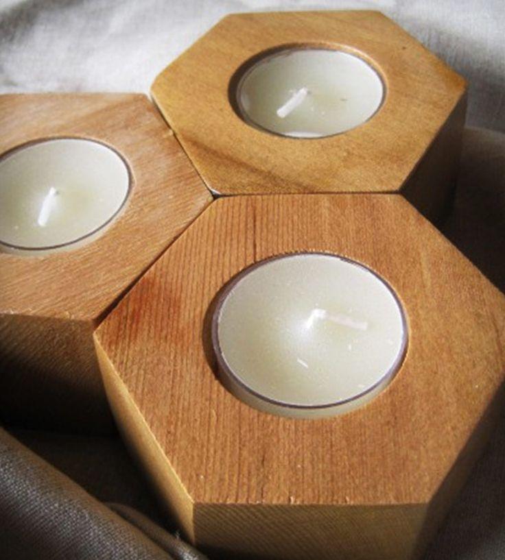 Spanish Cedar Hexagon Tea Light Candle Holders