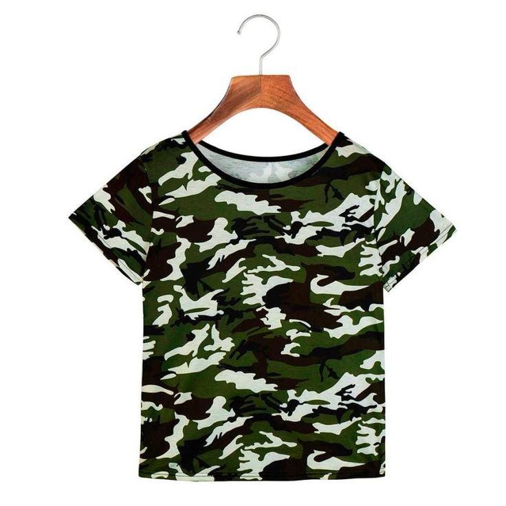 Camouflage T-Shirts Fashion Women T-Shirt Clothing