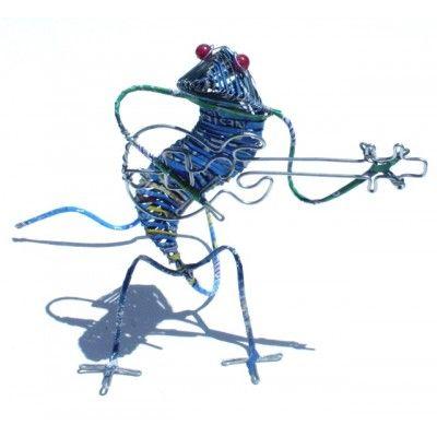 Gecko Musician Sculpture Recycled Handmade Artwork