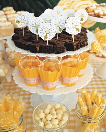 Handmade Detail  Place candies such as lemon drops and jelly beans in a range of yellow hues on cake stands and in jars. Though brownies aren't in the color palette, hand-drawn tags provide them with a party pass.