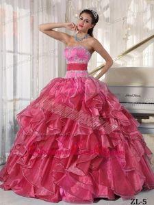 Strapless Ball Gown Floor-length Organza Appliques Quinceanera Dress