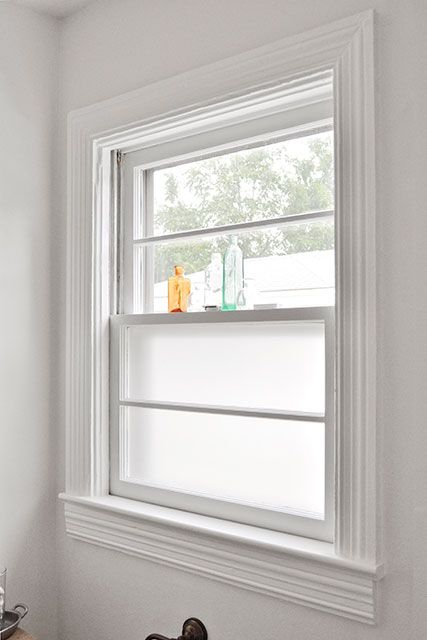 Frosted bathroom window- need to do this for my kitchen b-room!