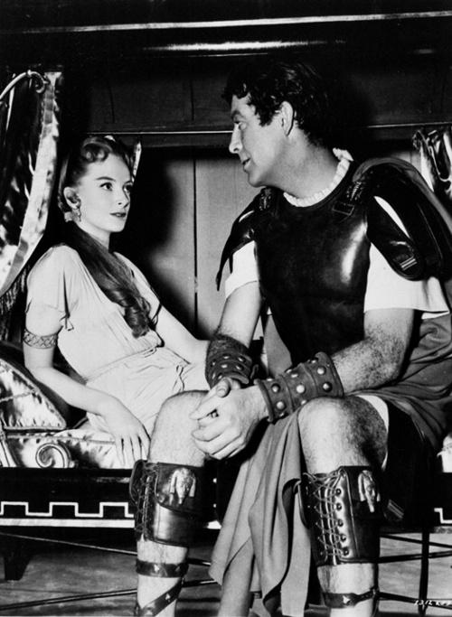 Deborah Kerr & Robert Taylor on the set of Quo Vadis, 1951