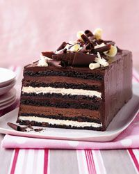Chocolate Truffle Layer Cake from Food & Wine magazine... chocolate cake with layers of white chocolate and milk chocolate ganache with chocolate frosting