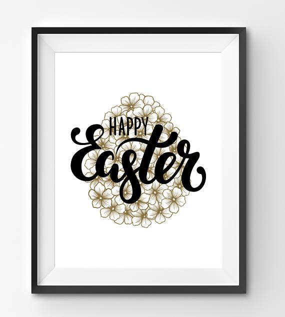 Happy Easter  Typography with Floral Egg Art Print Happy