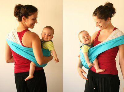 pouch sling: posição sentado na anca