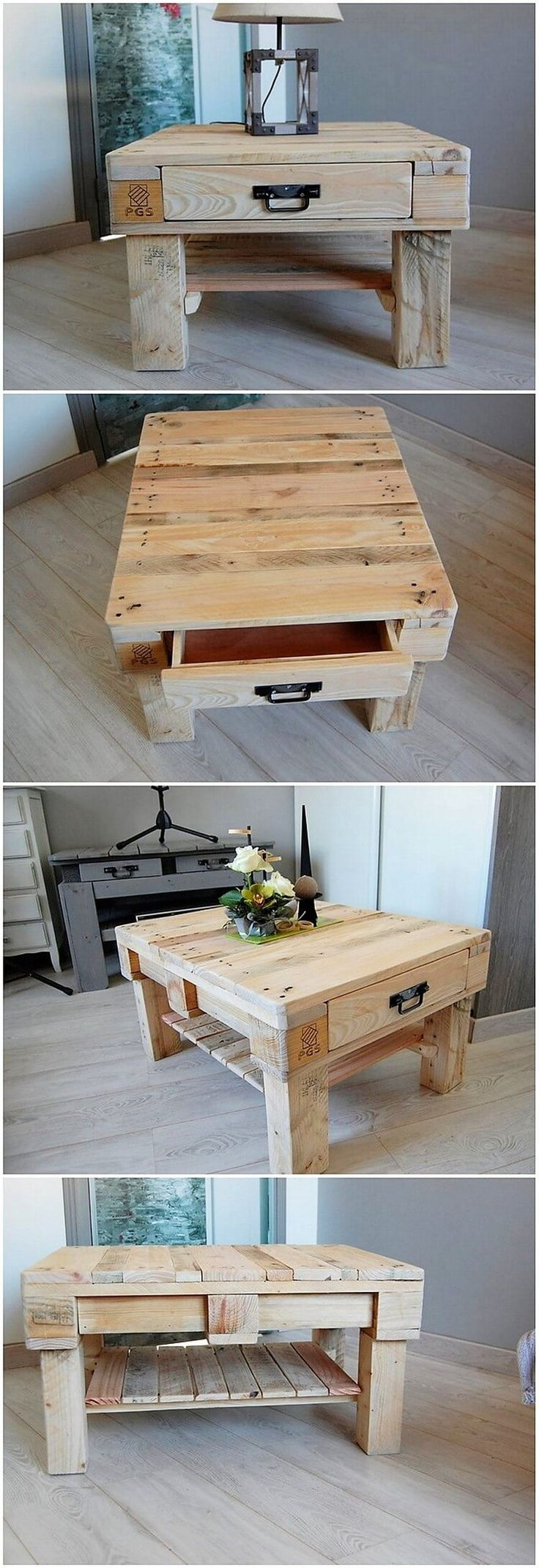 This is another one of the attractive designed wood pallet table for your home use. This pallet designing is usually meant for the locations of the lounge areas that are much lively and colorful looking. You can purposely make it find add with the storage drawer.