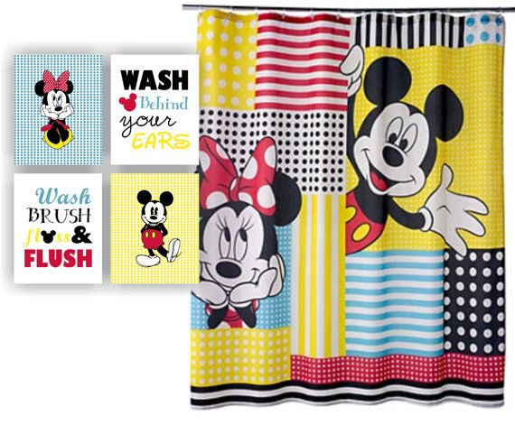 minnie mouse and mickey mouse wash brush floss flush wash behind your ears disney bathroom wall art set of 4 8x10 instant download
