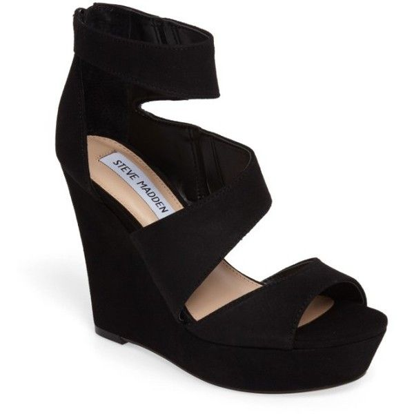 Women's Steve Madden Essey Asymmetrical Platform Wedge Sandal (115 AUD) ❤ liked on Polyvore featuring shoes, sandals, black suede, black wedge shoes, wedge sandals, wrap sandals, evening sandals and wedge heel sandals