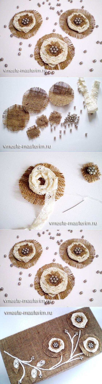 Как сделать декоративный цветок из мешковины...♥ Deniz ♥