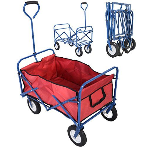 Look at this!  NEW Collapsible Folding Wagon Cart Garden Shopping Beach Toy Sports Blue Frame