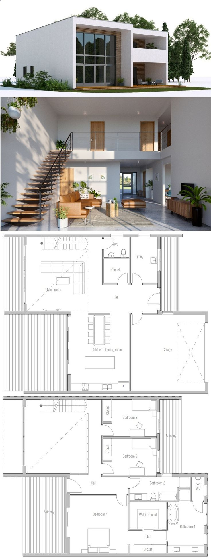 Best 25 narrow house plans ideas on pinterest narrow for 3 bedroom hall kitchen house plans