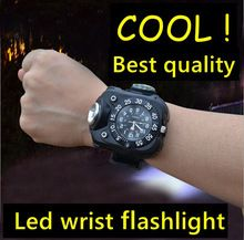 US $16.74 led rechargeable hand lamp military police Watches waterproof Wrist wearable flashlight for Outdoor Running Climbing. Aliexpress product